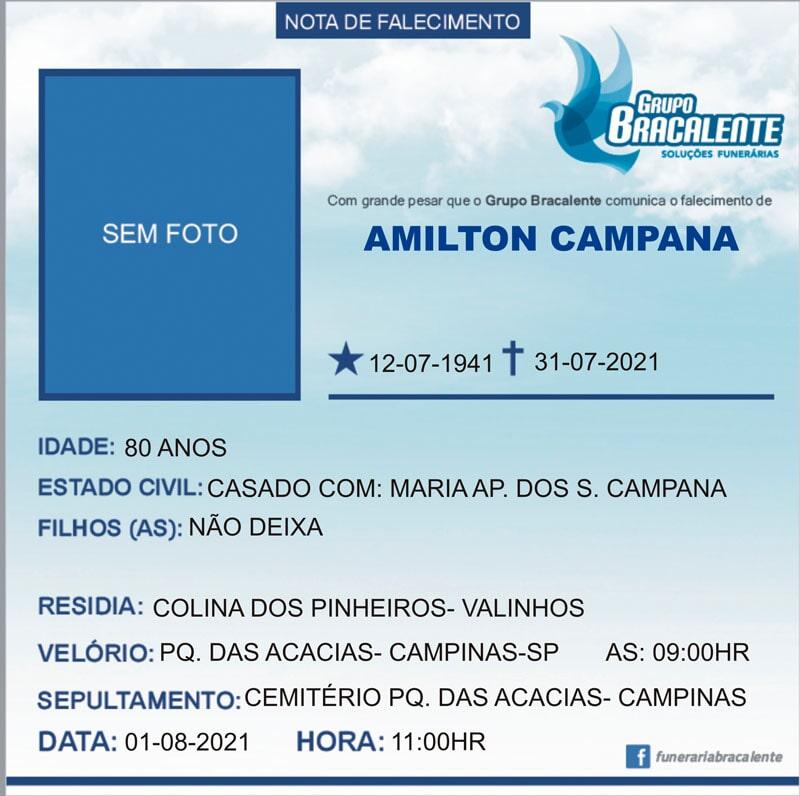 Amilton Campana | 12/07/1941 - 31/07/2021