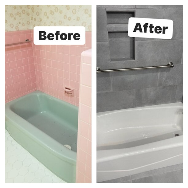 Before and after a bathroom remodel in Gonzales, LA from Marchand's Interior & Hardware