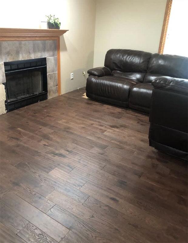 Dark hardwood flooring in Cedar Lake, IN from Yancey's House of Carpets