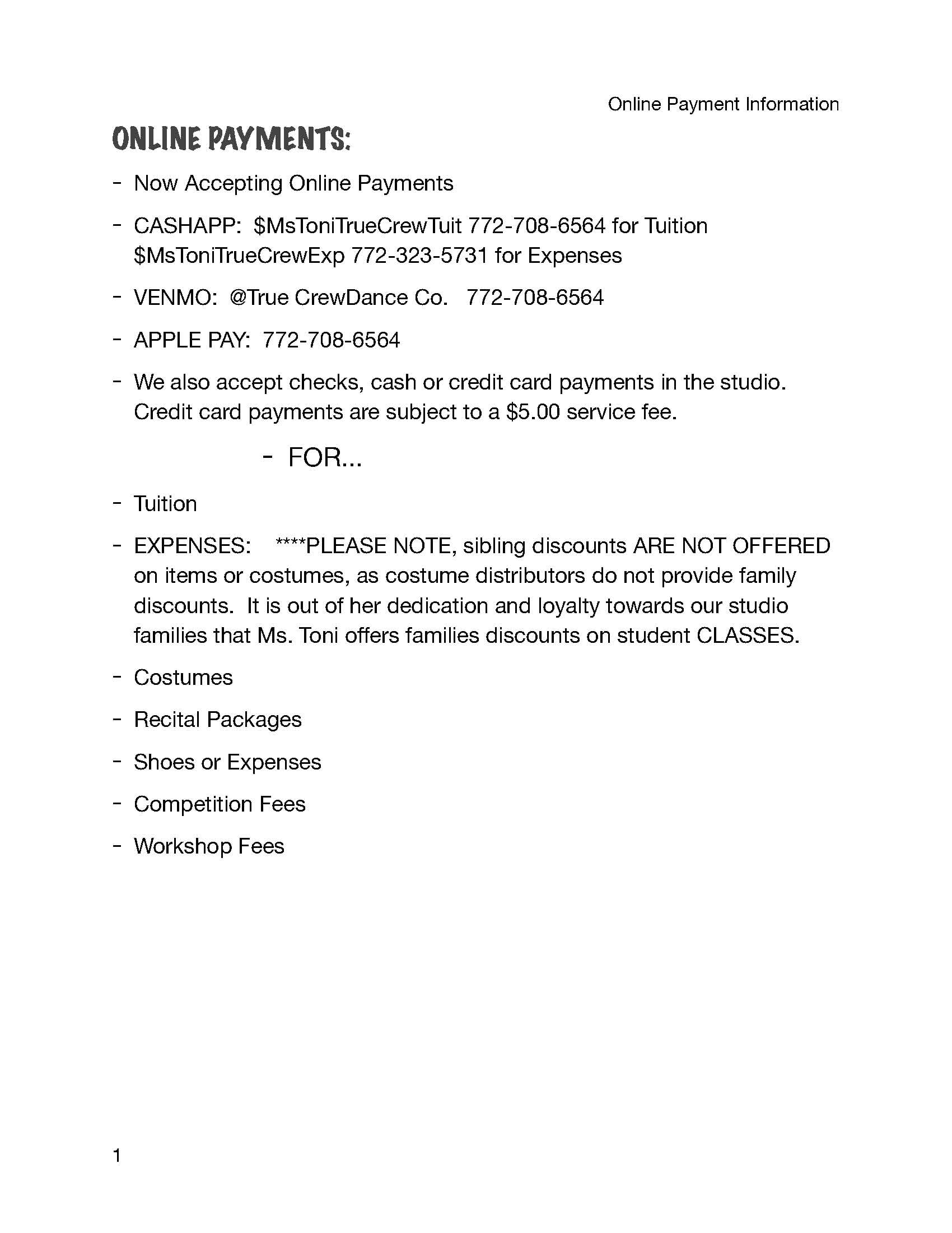 Online Payment Information